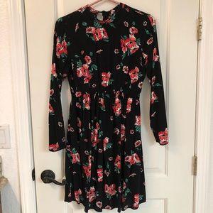 ASOS High Neck Long Sleeve Floral dress